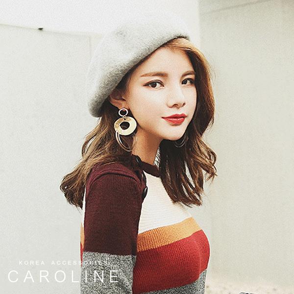 《Caroline》★秋冬流行時尚個性網紅同款貝雷帽  百搭韓版ins潮日系八角帽  71614
