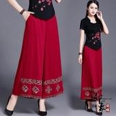中國風女裝褲子 文藝范棉麻休閒闊腿褲 大尺碼寬鬆亞麻長褲 十一週年降價