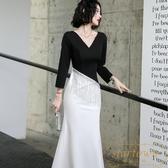 晚禮服裙女高端平時可穿現代主持人宴會年會【繁星小鎮】