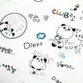 【BlueCat】韓國黑白貓熊逗貓咪誇張表情日記貼紙 (6入)