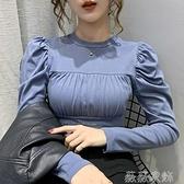 泡泡袖上衣 早秋新款韓版復古宮廷風壓褶泡泡袖百搭純色修身顯瘦長袖上衣女潮 薇薇
