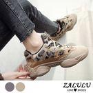 ZALULU愛鞋館 7KE032 流行豹紋綁帶厚底休閒老爹鞋-偏小-米白/灰-36-40