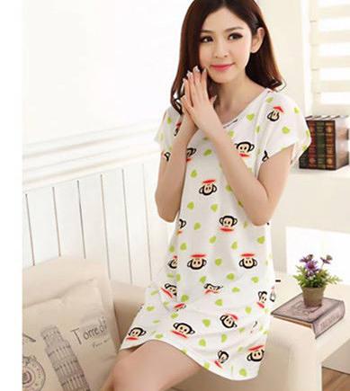 可愛小猴 棉質一件式睡衣(甜美紅)