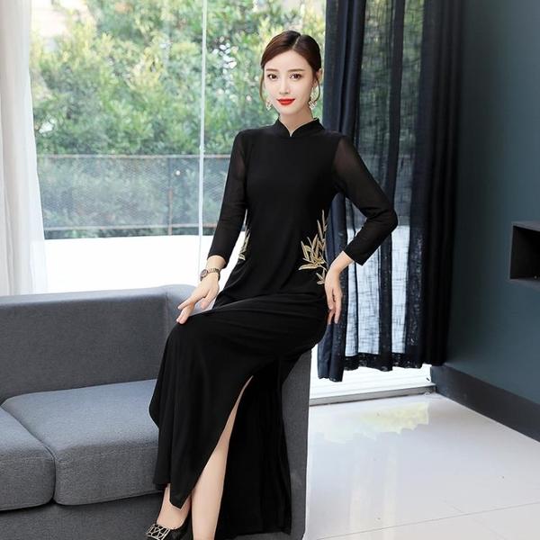 越南旗袍洋裝 春春新中式闊太太立領復古旗袍刺繡氣質長款網紗長袖開叉連身裙