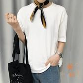 短袖T恤女日系純色簡約夏季純棉【橘社小鎮】