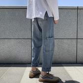 牛仔褲秋季ins港風復古牛仔褲男直筒寬鬆墜感闊腿老爹褲網紅毛邊九分褲