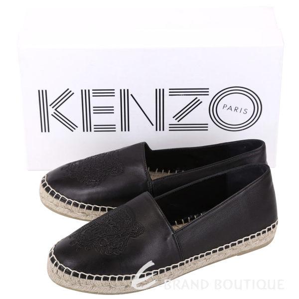 KENZO Leather Tiger 虎頭皮革草編平底鞋(黑色/薄版) 1620696-01