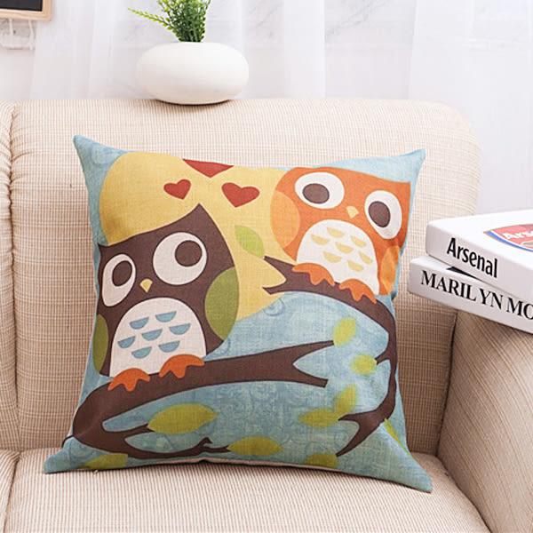 【BlueCat】藍天白雲底貓頭鷹系列棉麻抱枕腰枕套 枕頭套