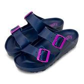 LIKA夢 LOTTO 馬卡龍雙扣環時尚輕量拖鞋 海灘拖鞋 室內、外拖鞋 藍莓紫 5626 女