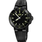 ORIS 豪利時 Aquis 時間之海中型潛水機械錶-鍍黑x黃/36mm 0173376524722-0741834B