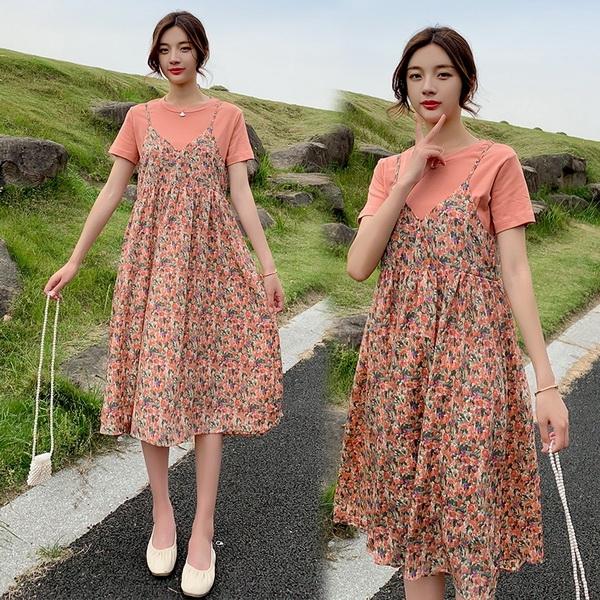 兩件式小碎花吊帶裙孕婦洋裝 兩色【CWH131207】孕味十足 孕婦裝