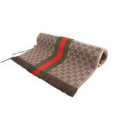 【GUCCI】GG LOGO羊毛圍巾(咖啡色/綠紅綠) 1473514G704 2766