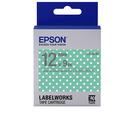 [哈GAME族]滿399免運費 可刷卡 愛普生 EPSON LK-4FAY 標籤機色帶 標籤帶 粉綠白點底灰字 12mm