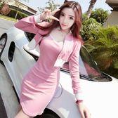 2018秋季新款韓版氣質條紋織帶短款衛衣外套 吊帶修身連衣裙套裝