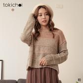 東京著衣-tokichoi-可愛甜美圓領漸層金蔥點綴毛衣/上衣(192025)