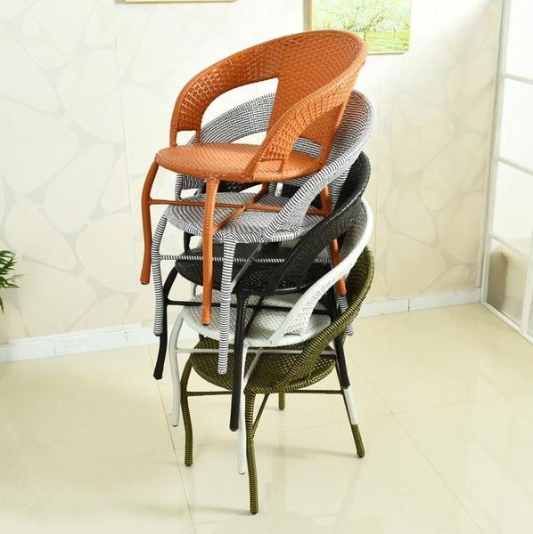 陽臺小藤椅子單人扶手靠背椅編織家用老人庭院單個休閒戶外藤編椅 酷男精品館