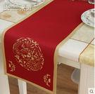 時尚簡約鏤空中式中國龍驤金邊富貴餐桌桌旗...