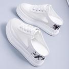 增高拖鞋 夏季新款女鞋鏤空透氣網面厚底鬆糕小白鞋女士時尚內增高半拖-Ballet朵朵