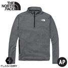 【The North Face 男 排汗透氣立領上衣《黑灰》】5372/吸濕排汗長袖T恤/半襟衫/運動衣/休閒衫