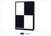 【MK億騰傢俱】BS056-06黑白配4*7尺推門衣櫥