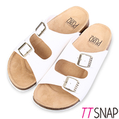 涼拖鞋-TTSNAP MIT真皮整體包覆足弓休閒涼拖鞋 白
