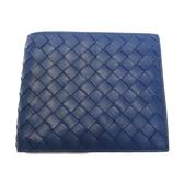 BOTTEGA VENETA 寶緹嘉 藍色羊皮編織對開式短夾 【二手名牌BRAND OFF】