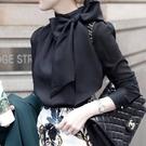 雪紡洋裝 2021春裝新款氣質長袖雪紡上衣系帶黑色職業襯衫女設計感小眾輕熟 歐歐
