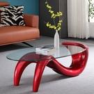 茶几 新款網紅茶幾簡約現代小戶型客廳異形玻璃桌家用橢圓形簡易接待桌