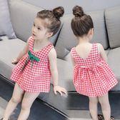 兒童夏裝女童無袖洋裝 韓版百搭文藝格子吊帶裙公主裙