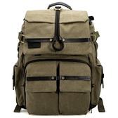 相機後背包-大容量真皮防水帆布時尚雙肩攝影包2色71a34【時尚巴黎】