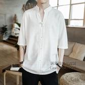 夏中版風男裝亞麻短袖唐裝寬鬆大碼中袖七分袖t恤棉麻衣半袖上衣【小艾新品】
