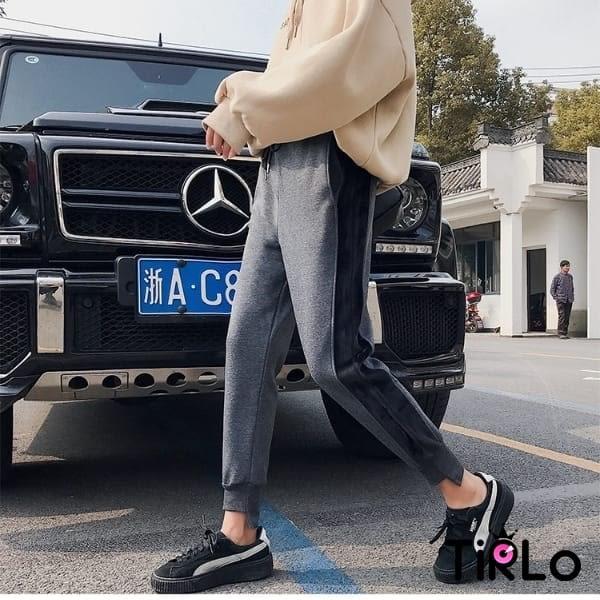 休閒褲 -Tirlo-側邊拼接內加絨保暖休閒褲-兩色/M-2XL(現+追加預計5-7工作天出貨)