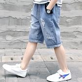 男童短裤 男童薄款破洞牛仔短褲2021新款夏季中大童兒童休閒五分男孩中褲潮