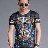 短袖男T恤韓版上衣 夏季中國風印花圓領短袖男裝修身個性T恤小衫《印象精品》t3447
