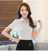 新款白襯衫女短袖夏天雪紡大碼職業女裝正裝工作服OL通勤半袖襯衣