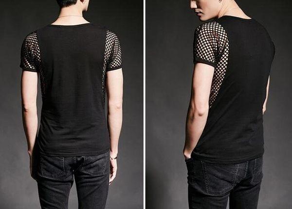 找到自己 韓國潮流 個性 燙鉆鏤空 十字 時尚 街頭潮男 夜店 DJ 發型師 必備 短袖T恤 特色短T