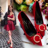 高跟鞋—夏季新品方扣粗跟高跟淺口女鞋尖頭中跟工作單鞋紅色新娘婚鞋 依夏嚴選