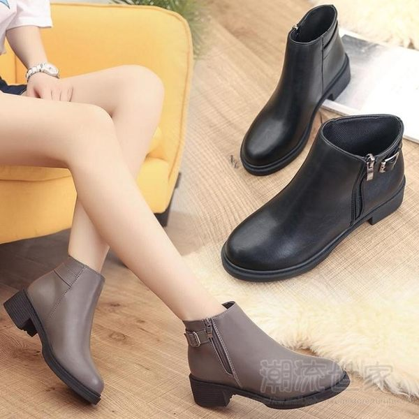 現貨清出新款秋冬季中跟側拉鏈短靴女機車平底馬丁靴潮粗跟及裸靴女鞋1-31