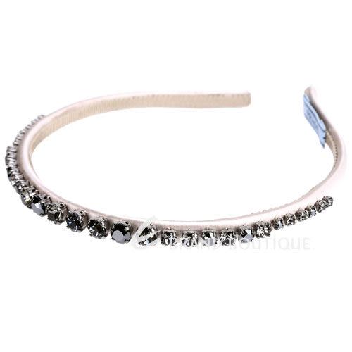 PRADA 水晶鑲嵌緞面髮箍/髮圈(香檳粉色) 1510022-C5