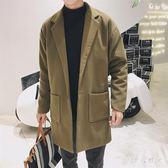 毛呢大衣 中大尺碼冬季男士風衣百搭新款中長款外毛呢大衣OB48『伊人雅舍』