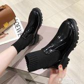 馬丁鞋 英倫風短靴百搭馬丁靴女2019春秋季新款高筒小皮鞋厚底襪靴單靴女【果果新品】