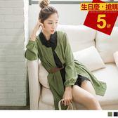 OrangeBear《DA3906》皮革帶造型圓領開襟縮腰長袖洋裝.2色--適 XL~5L
