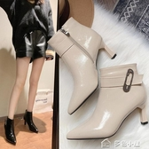 裸靴秋冬新款時尚細跟短靴側拉鍊高跟馬丁靴女細跟漆皮尖頭女靴子