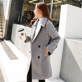 蕾可妮斯秋冬新款韓版修身西裝領顯瘦呢子大衣中長款毛呢外套女士 初見居家