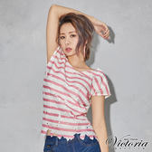 Victoria 印條蕾絲V領落肩短袖T-女-粉色
