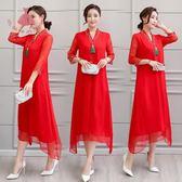 夏季民族風洋裝連身裙真絲刺繡中袖仙女裙大紅色V領長裙 巴黎時尚生活