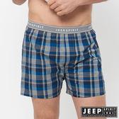 【JEEP】五片式剪裁 純棉平口褲(藍灰格紋)