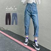 降價特賣-Y高低褲頭牛仔長褲-附綁帶S-XL-2色  現+預【04011304】