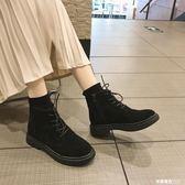 韓版原宿馬丁靴女系帶短靴英倫復古側拉鏈馬丁靴平底高筒學生鞋    米希美衣