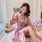 睡裙女半袖夏季仿真絲綢冰絲 日式和服V領性感半袖寬鬆睡衣女短裙 快速出貨